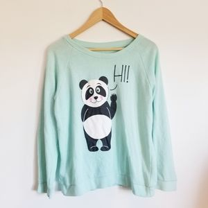 Bluenotes turquoise panda sweatshirt